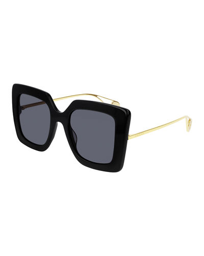 Gucci Acetate & Metal Square Sunglasses