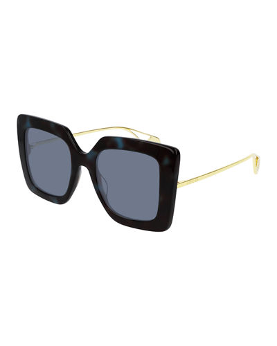 Acetate & Metal Square Sunglasses