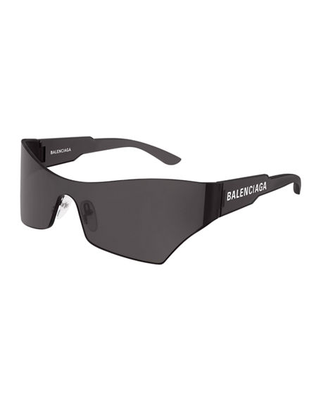 Balenciaga Mirrored Rimless Wrap Sunglasses