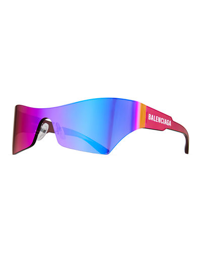 Mirrored Rimless Wrap Sunglasses