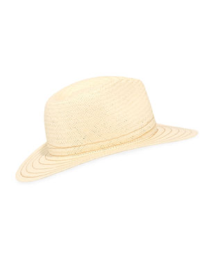 3097a86d26642 Rag   Bone Packable Straw Fedora Hat with Stitching