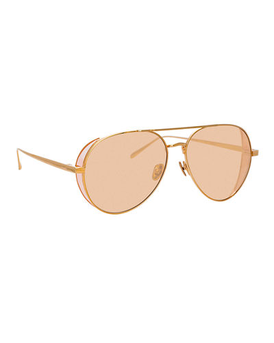 abfae21e586 Quick Look. Linda Farrow · Titanium Aviator Sunglasses
