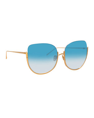 cc157235789e Linda Farrow Semi-Rimless Butterfly Sunglasses