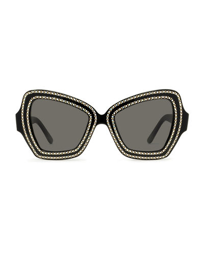 Celine Crystal Embellished Butterfly Acetate Sunglasses