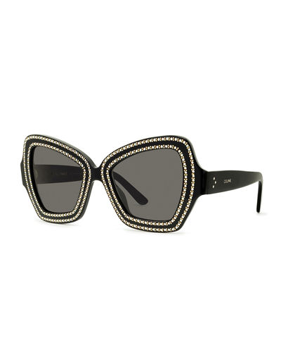 Crystal Embellished Butterfly Acetate Sunglasses