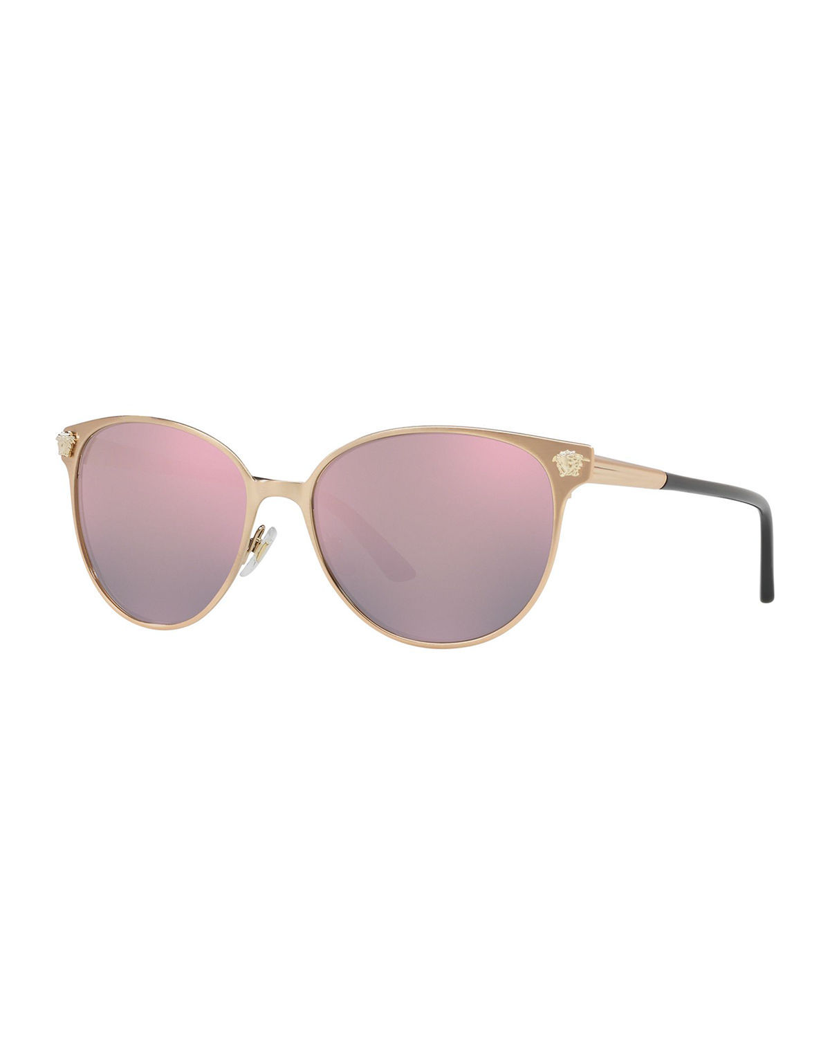c70a500f47 Versace Polarized Round Sunglasses W  Medusa Head Temples In Pink ...