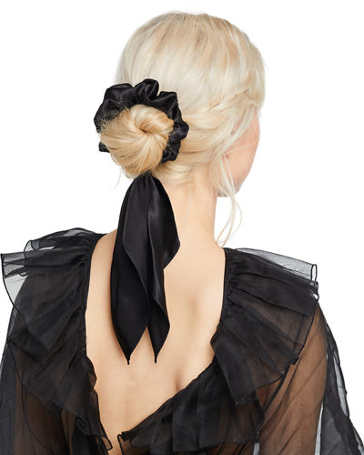 Silk Scrunchie with Hanging Scarf