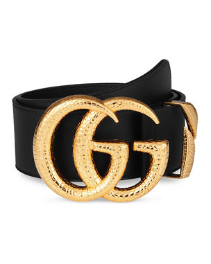 b6775da3db8 Gucci Smooth Leather Belt w  Double G Buckle
