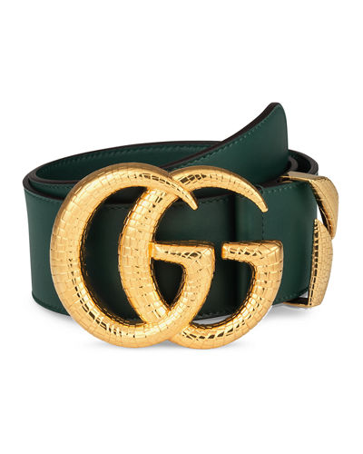 5d35382682a Quick Look. Gucci · Smooth Leather Belt w  Double G Buckle