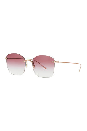 Oliver Peoples Square Rimless Engraved Sunglasses