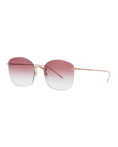 Square Rimless Engraved Sunglasses