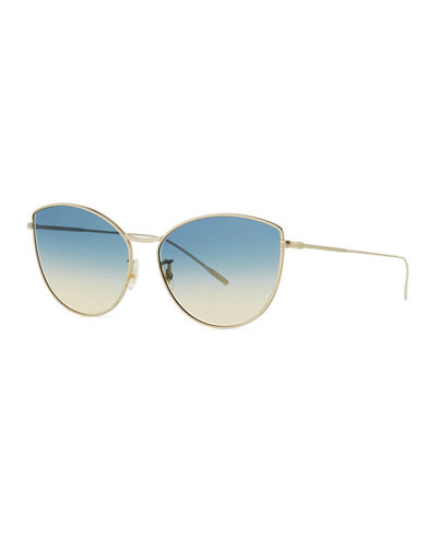 Gradient Metal Cat-Eye Sunglasses