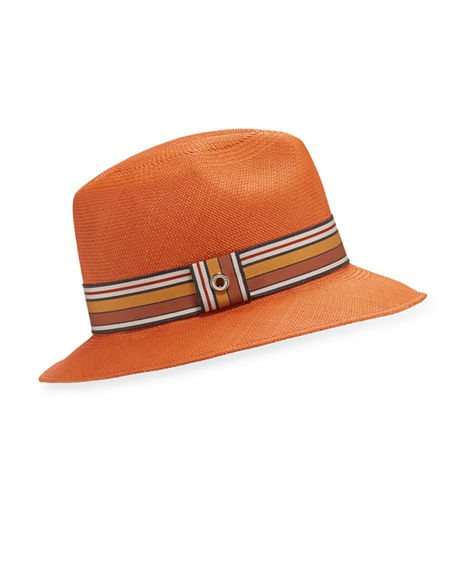 Loro Piana Ingrid Straw Panama Brisa Hat w/ Multi-Stripe Band