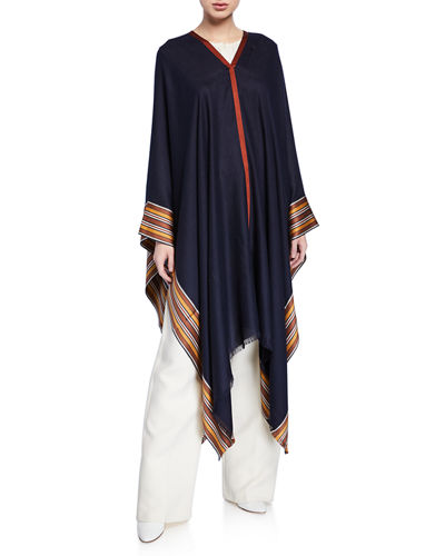 V-Neck Poncho w/ Multi-Stripe Hem