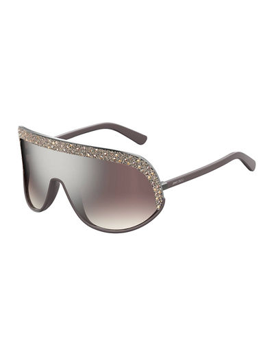 Siryns Wrap Shield Sunglasses w/ Crystal Detailing