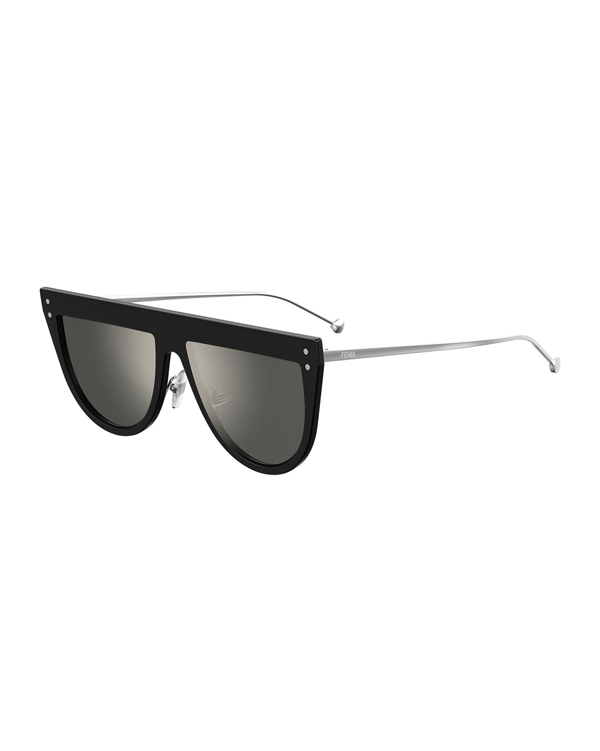 2448dd41de Fendi Flat-Top Mirrored Shield Sunglasses