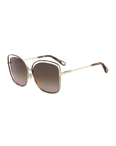Poppy Cutout Metal Square Sunglasses