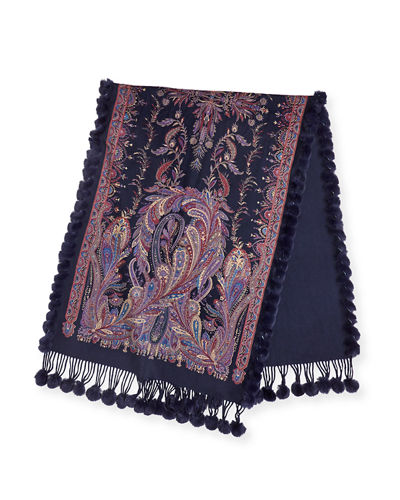 Rabbit Fur-Trim Paisley Cashmere Stole