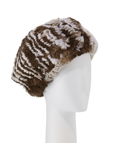 Striped Knit Fur Hat