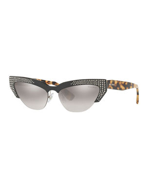 27e30004d94 Miu Miu Semi-Rimless Cat-Eye Sunglasses