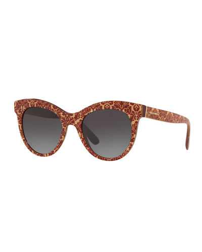 Oval Gradient Acetate Sunglasses w/ Printed Arms
