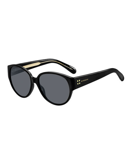 Givenchy Mirrored Oval Acetate Sunglasses