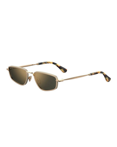 Jimmy Choo Gals Slim Glittered Rectangle Sunglasses