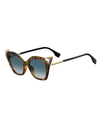 d611ba8b49 Quick Look. Fendi · Crystal-Trim FF-Print Cat-Eye Sunglasses