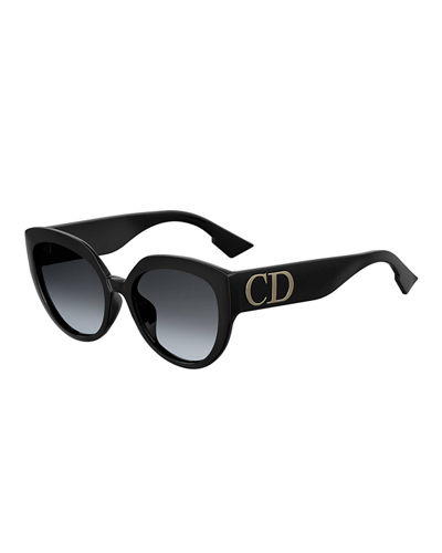 DiorF Round Sunglasses w/ Oversized Logo Temples