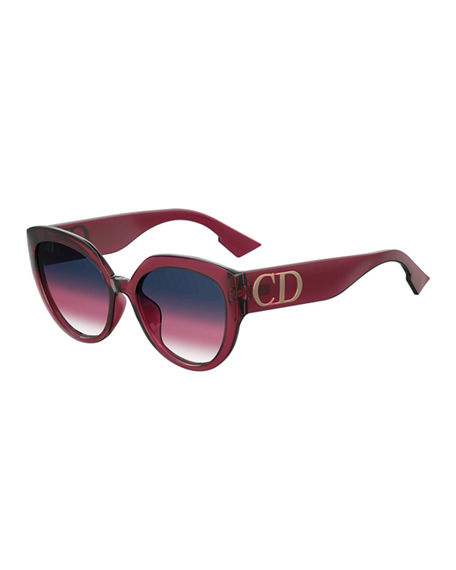 Dior DiorF Round Sunglasses w/ Oversized Logo Temples