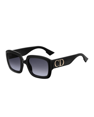 Square Sunglasses w/ Oversized Logo Temples