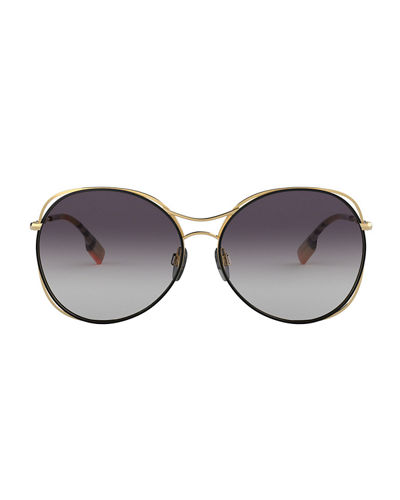 Burberry Round Steel Cutout Sunglasses