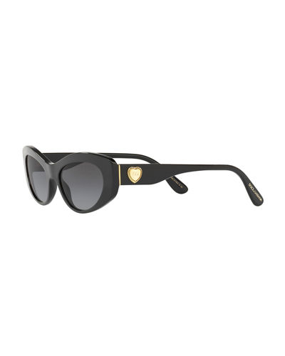 Dolce & Gabbana Cat-Eye Logo Heart Sunglasses