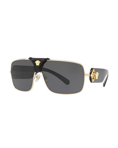 Versace Medusa Leather-Wrap Square Sunglasses