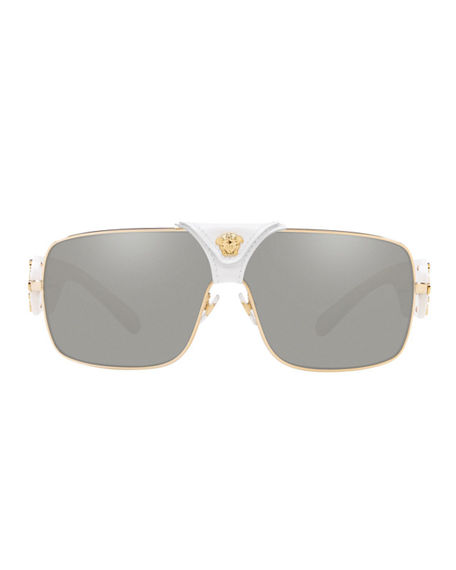00f952b94419 Versace Medusa Leather-Wrap Square Sunglasses In White Gold