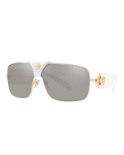 27f3f594fde7 Quick Look. Versace · Medusa Leather-Wrap Square Sunglasses