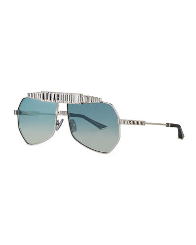 Le Boss Aviator Sunglasses w/ Baguette Crystal Trim