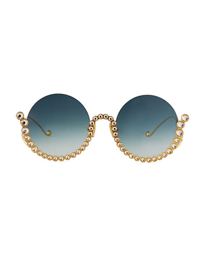 Anna-Karin Karlsson Full Moon Semi-Rimless Round Sunglasses w/ Crystal Trim
