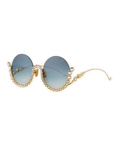 Full Moon Semi-Rimless Round Sunglasses w/ Crystal Trim