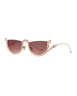 dafd63efc88 Anna-Karin Karlsson Half Moon Semi-Rimless Cat-Eye Sunglasses w  Crystal
