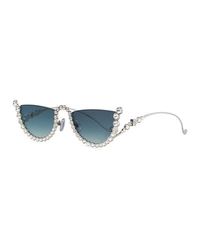 Half Moon Semi-Rimless Cat-Eye Sunglasses w/ Crystal Trim