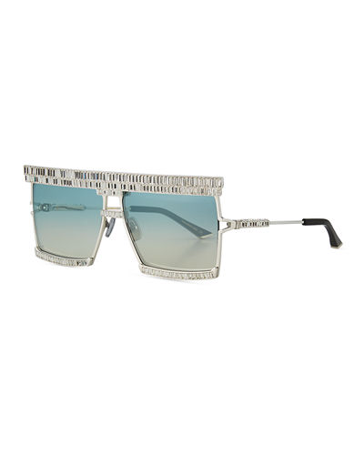 The Emperor Square Titanium Sunglasses w/ Baguette Crystal Trim