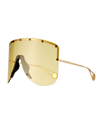 Rimless Shield Sunglasses w/ Star Studs