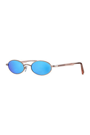 Le Specs Luxe Sorcerer Oval Mirrored Sunglasses