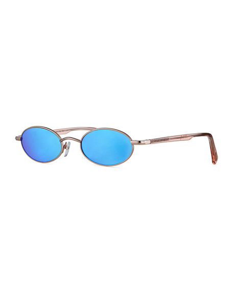 Le Specs Sunglasses SORCERER OVAL MIRRORED SUNGLASSES