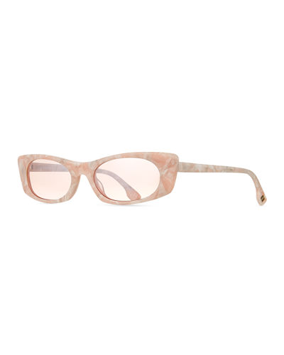 Le Specs Luxe Deep Shade Marbleized Acetate Cat-Eye Sunglasses