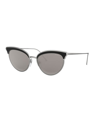 Prada Metal Cat-Eye Sunglasses w/ Contrast Brows