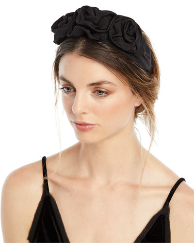 Silk Faille Triple Rosette Headband