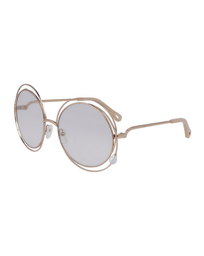 Chloe Round Concentric Metal Sunglasses
