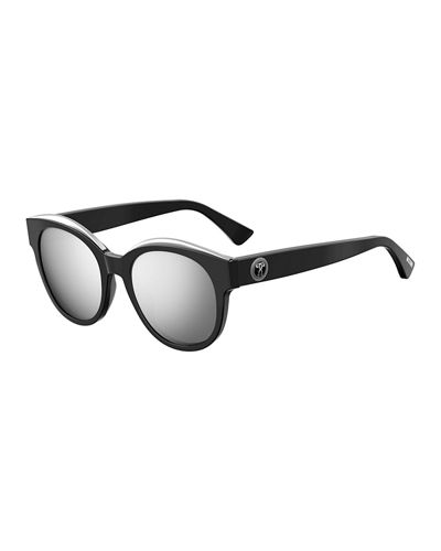 Mirrored Round Acetate Sunglasses